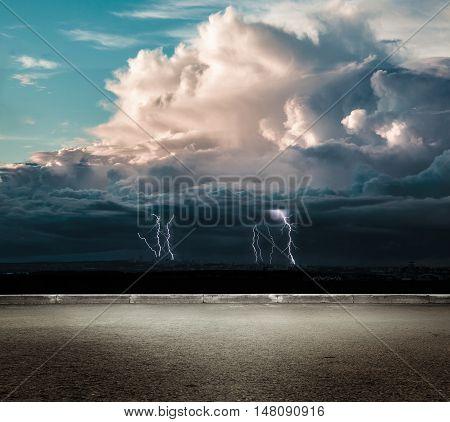 Night thunder lightning over the dark sky view