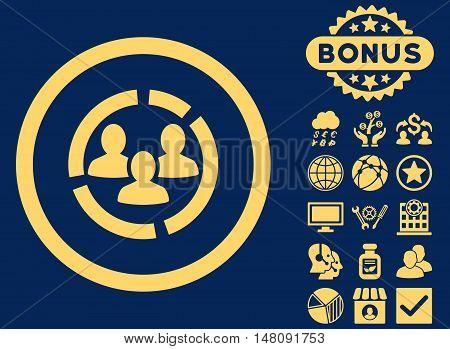 Demography Diagram icon with bonus symbols. Vector illustration style is flat iconic symbols yellow color blue background.