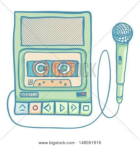 Cassette tape recorder with microphone. Handheld tape recorder, hand drawn retro illustration, isolated on white. Suitable for banner, ad, t-shirt design. Vintage design element