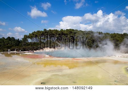 Wai-o-Tapu, New Zealand - February 25, 2015: The Champagne Pool in Thermal Wonderland Wai-O-Taipu close to Rotorua