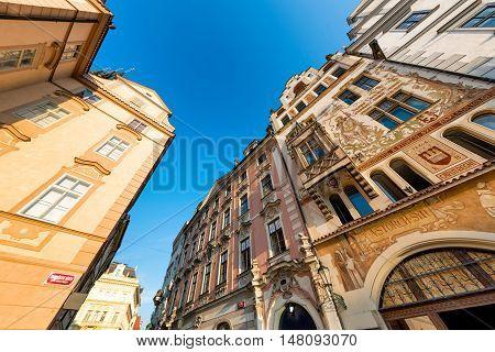 Street at Old Town Square (Staromestske Namesti). Prague Czech Republic.