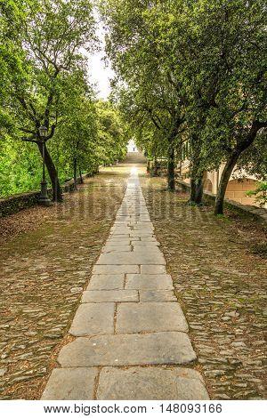 Alley To Sanctuary Of Nostra Signora Di Montallegro