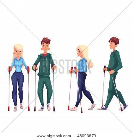 Couple of young adult nordic walkers, cartoon style vector illustration isolated on white background. Man and woman going in for nordic walking, front and side view. Male and female Nordic walkers