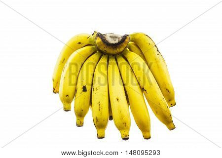 Ripe bananas isolated on white background. It is good fruit for excretion