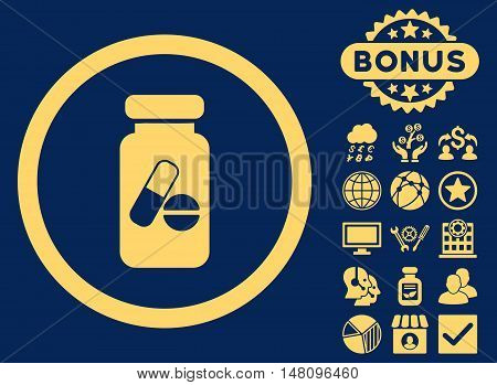 Drugs Phial icon with bonus design elements. Vector illustration style is flat iconic symbols yellow color blue background.