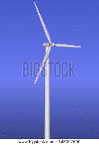 Wind turbine realistic vector illustration on blue background