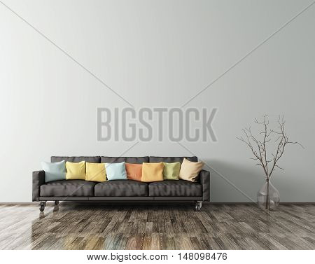 Modern interior of living room with black sofa multicolored cushions and vase with branch 3d rendering