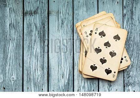 Pack Of Cards On Wooden Background