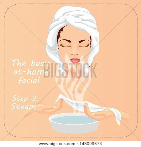Young woman cares and protects her face. Beauty facial procedure vector illustration. Face care with steam.