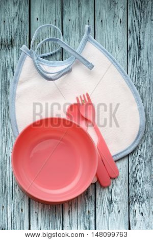 Bibs, Bowl And Spoon For Baby