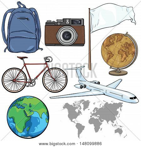 Vector Set of Travel Cartoon Objects and Signs on White Background