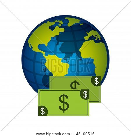 global planet with economy icon vector illustration design