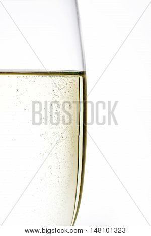 Champagne glass cups macro photo on white background