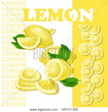 Vector illustration with lemon and slices isolated on white background.  Flat style healthy food.  Set of lemons.