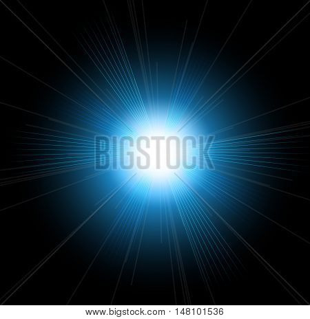 Beautiful bright lens flares. Lighting effects of flash. Star with lens flare and bokeh effect.