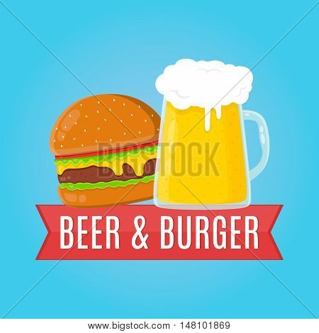 Beer and burger flat design illustration. Food concept