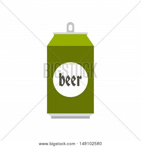Green aluminum can of beer icon in flat style on a white background vector illustration