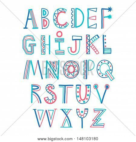 Childish style colorful decorative doodle ABC letters. Hand drawn font for your design.