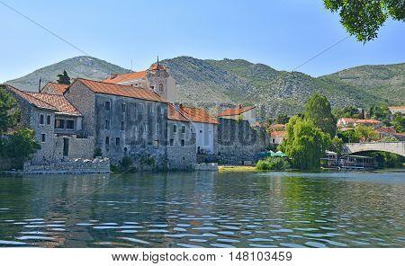 The Trebisnjica River waterfront of the southern Bosnian town of Trebinje.