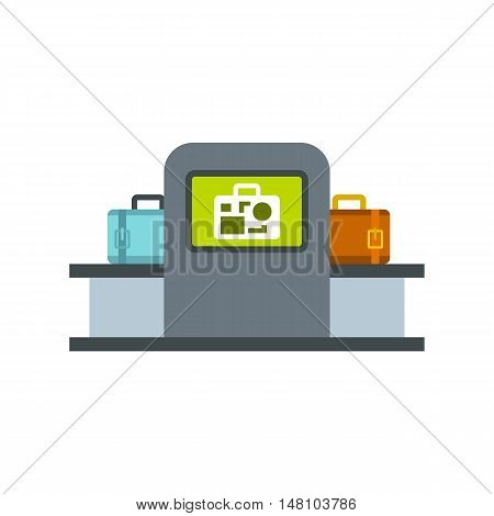 Airport baggage security scanner icon in flat style on a white background vector illustration