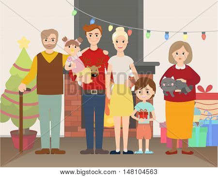 Vector illustration of Christmas family portrait at home near fire place and Christmas tree and gifts. Big family with children, parents, grandparents.