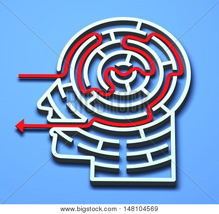 Labyrinth 3D maze brain head mental concepts
