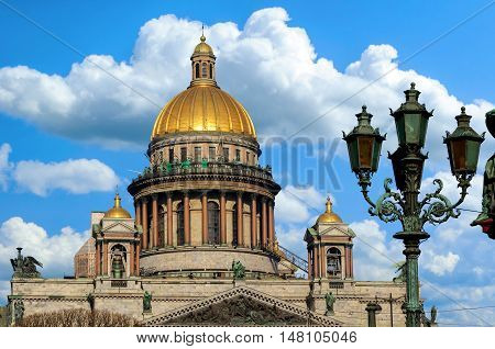 Saint Isaac's Cathedral in St Petersburg, Russia - closeup architecture view of famous St Petersburg landmark. Architecture landscape of St Petersburg, Russia