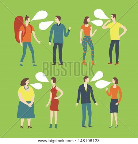 Set of cartoon speaking people in various lifestyles having a dialog. Characters illustrations with speech bubble.
