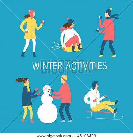 Winter activities cartoon set. Active children playing outdoor.Characters illustration for your design.