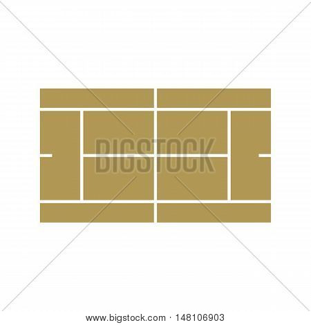 Tennis court icon in flat style on a white background vector illustration