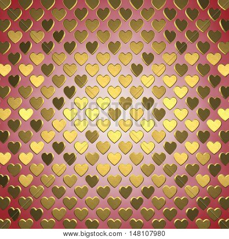 Gold hearts on red background , Valentine's day celebration , 3d illustration