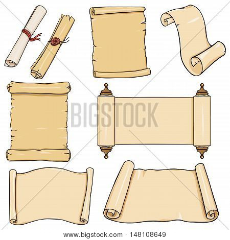 Vectror Set Of  Cartoon Scrolls