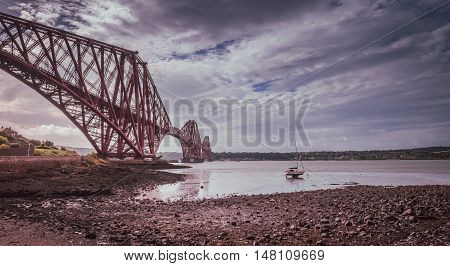 Forth Rail Bridge in Edinburgh, Scotland, connecting the towns of North and South Queensferry