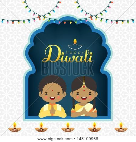 Diwali / Deepavali vector greeting illustration. Cute indian kids with colorful light bulbs and burning diya (india oil lamp). Festival of Lights celebration.