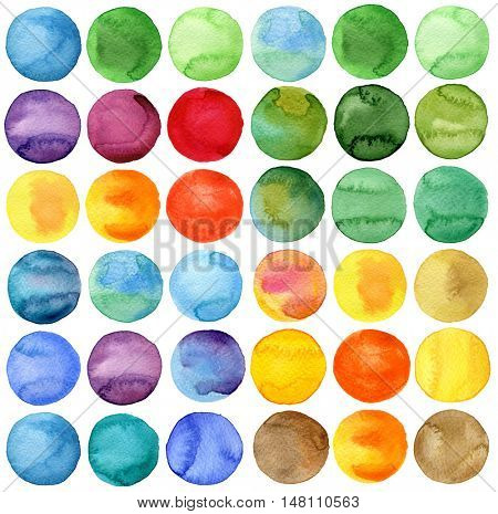 Circles Watercolor hand painted collection