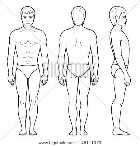 Vector illustration of male figure - front back and side view in outline