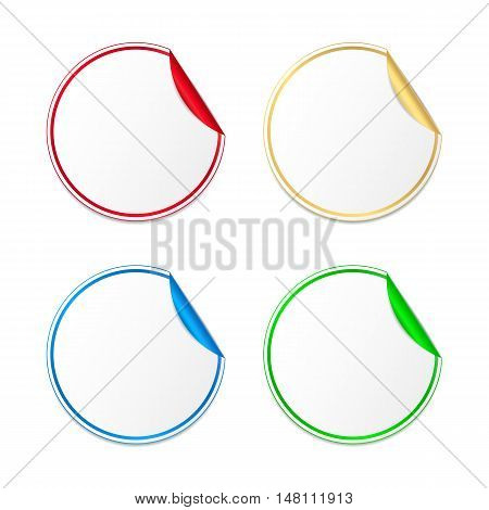 Set of colored paper stickers. Vector labels with curled corner for your message. Isolated from a background.