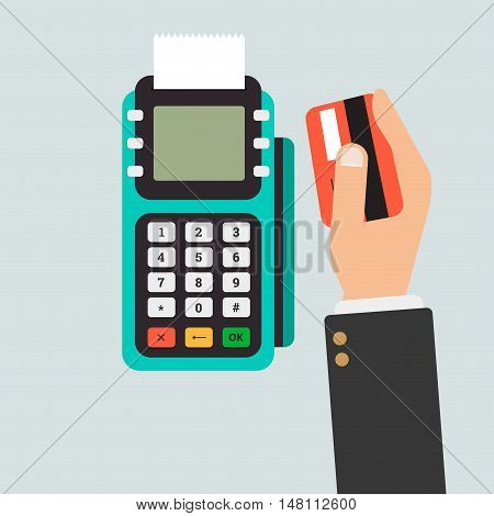 Pos terminal usage vector concept in flat style. Concept of cashless payment and credit card payment.