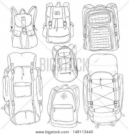 Vector Set of Sketch Doodle Backpacks. Casual Backpack Fashion Backpack Hiking Backpack Sport Backpack Tactical Backpack.