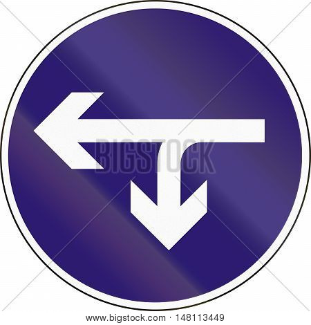 Road Sign Used In Hungary - Turn Left Or U-turn