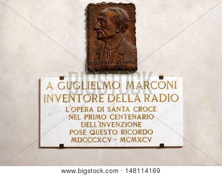 FLORENCE, ITALY: January 19, 2016 : memorial plaque dedicated to the Guglielmo Marconi, was an italian inventor, electrical engineer in Santa Croce basilica on january 19, 2016, Florence, Italy