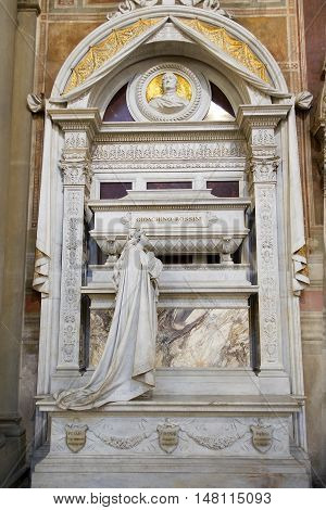 FLORENCE, ITALY - January 19, 2016 : tomb of Gioachino Antonio Rossini, italian composer in Santa Croce basilica on january 19, 2016, Florence, Italy