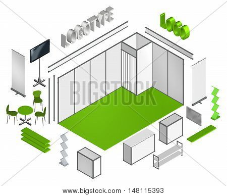 Basic exhibition stand isometric 3D template move or flip elements and apply your own design