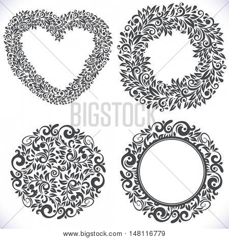 Black and white floral frames with copy space vector template. Menu invitation or greeting card cover design element.