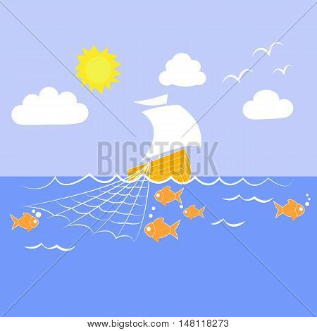 Vector drawing of a sailing ship fishing net