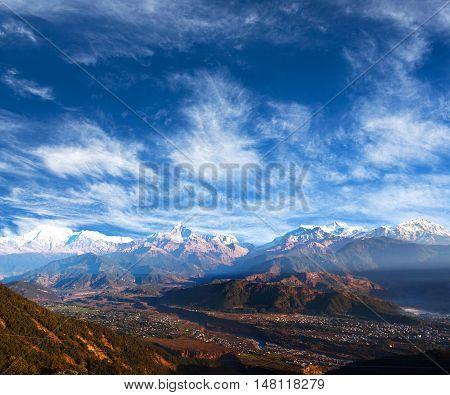 View of the Himalayan mountains from Sarangkot Pokhara