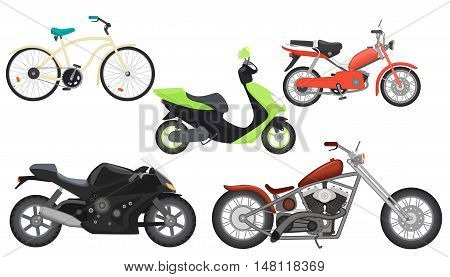Classic color flat realistic motorcycle moped, speed motorbike, travel motorcycle, power moto bikes collection set