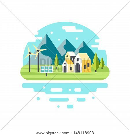 Eco city modern design. Alternative energy concept. Countryside scenery with mountains, lake and country houses. Eco tourism