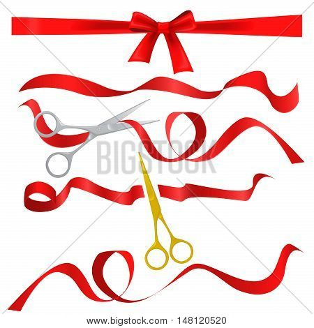 Metal chrome and golden scissors cutting red silk ribbon. Realistic opening ceremony symbols Tapes ribbons and scissors set