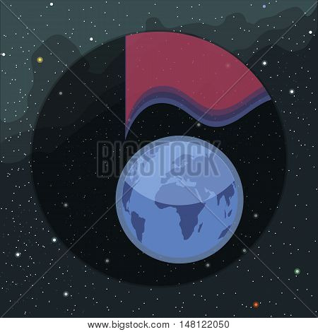Digital vector planet earth icon with light spectrum, over stelar background, flat style.